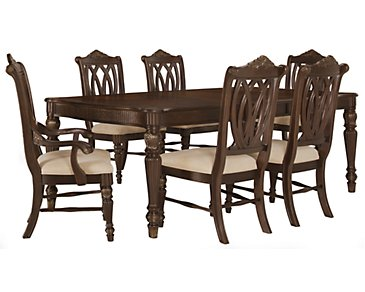 Tradewinds Dark Tone Rectangular Table & 4 Wood Chairs