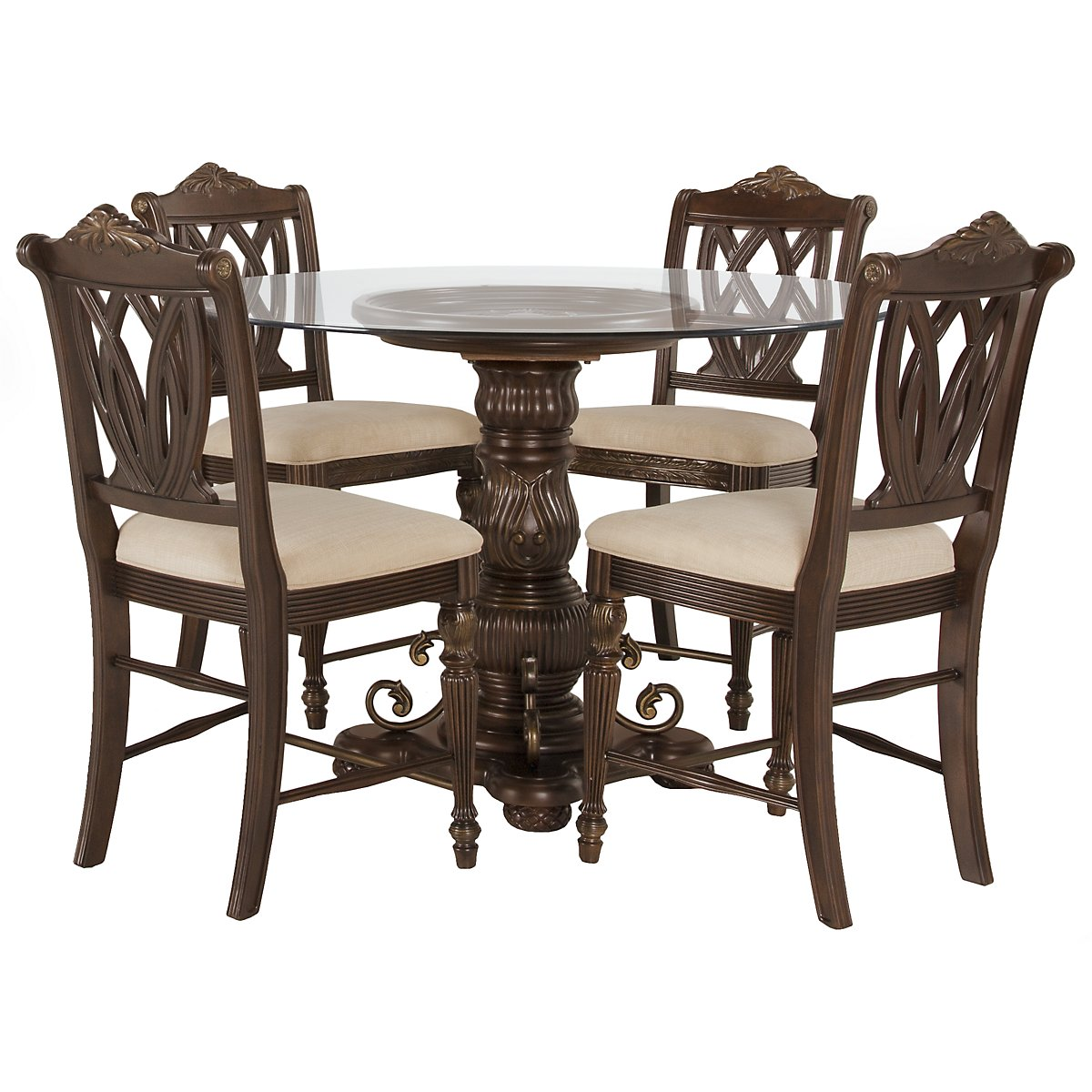 Tradewinds Dark Tone Glass High Table & 4 Wood Barstools