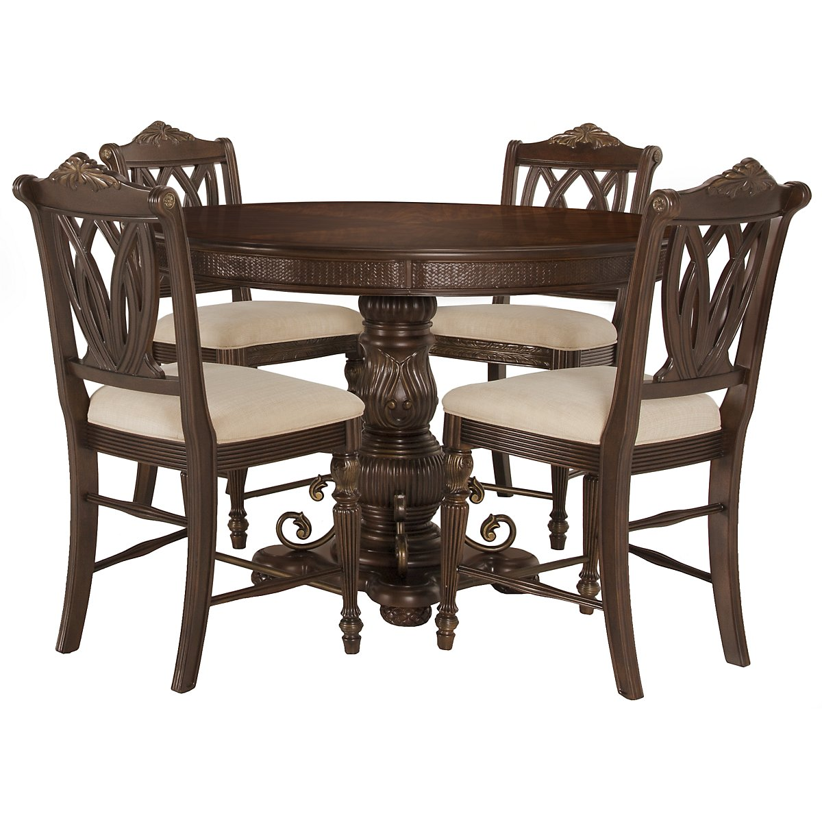 Tradewinds Dark Tone Round High Table & 4 Wood Barstools