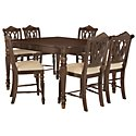 Tradewinds Dark Tone Square High Table & 4 Wood Barstools