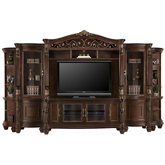 Tradewinds Dark Tone Entertainment Wall with Corners