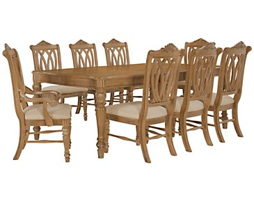 Tradewinds Light Tone Rectangular Table & 4 Wood Chairs