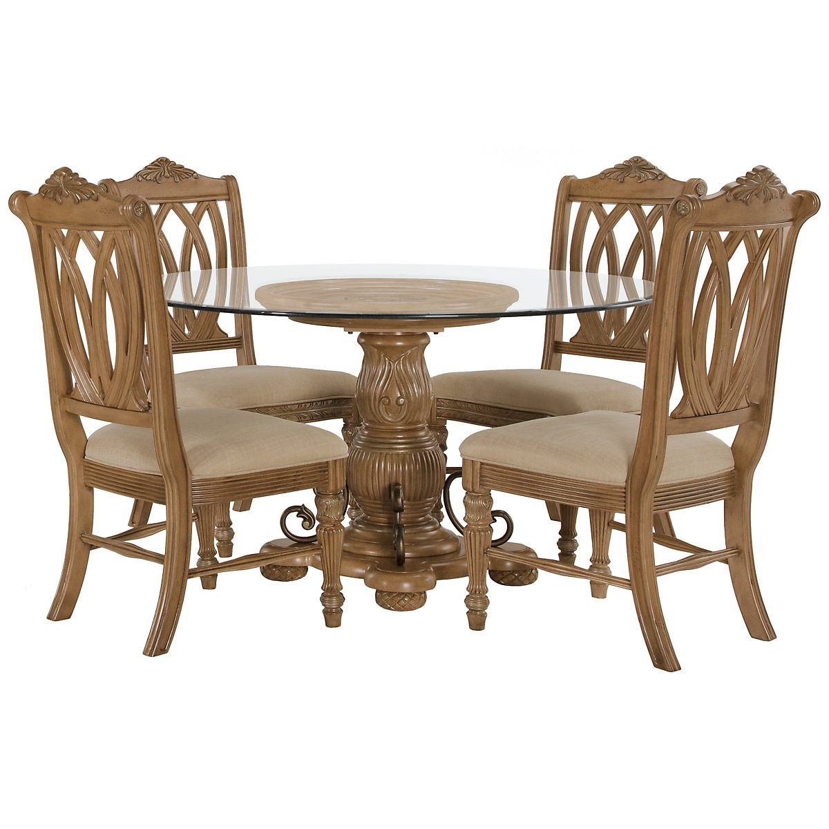 Tradewinds Light Tone Glass Table & 4 Wood Chairs
