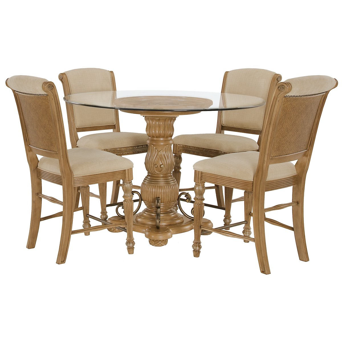 Tradewinds Light Tone Glass High Table & 4 Upholstered Barstools