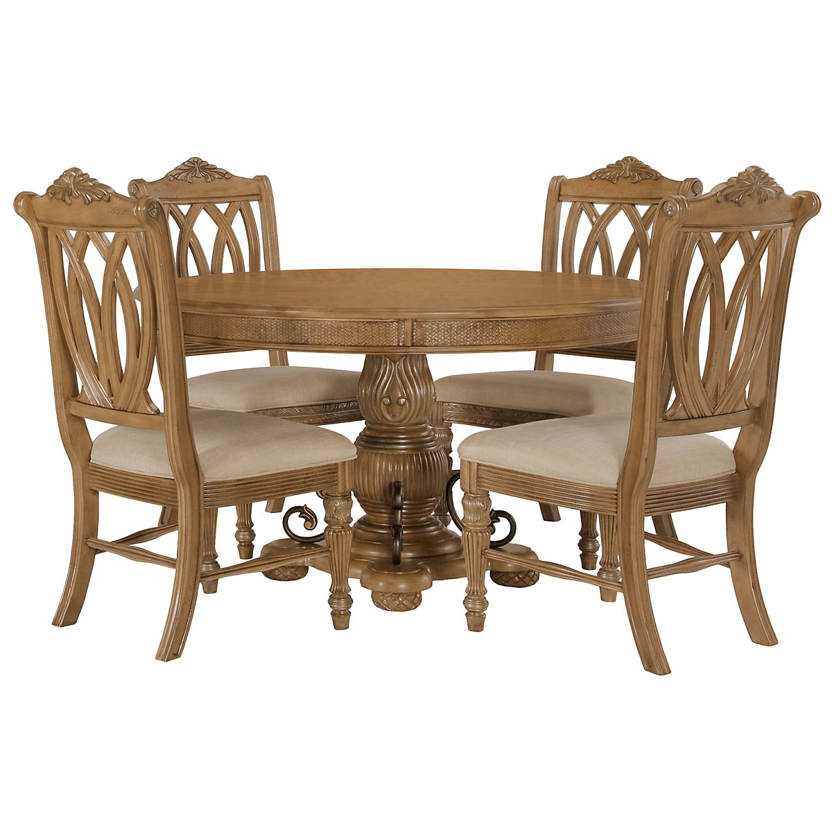 Tradewinds Light Tone Round Table & 4 Wood Chairs