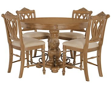 Tradewinds Light Tone Round High Table & 4 Wood Barstools