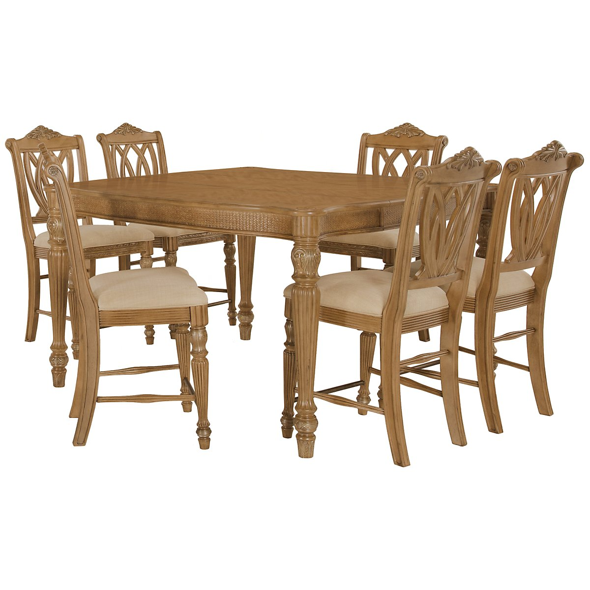 Tradewinds Light Tone Square High Table & 4 Wood Barstools