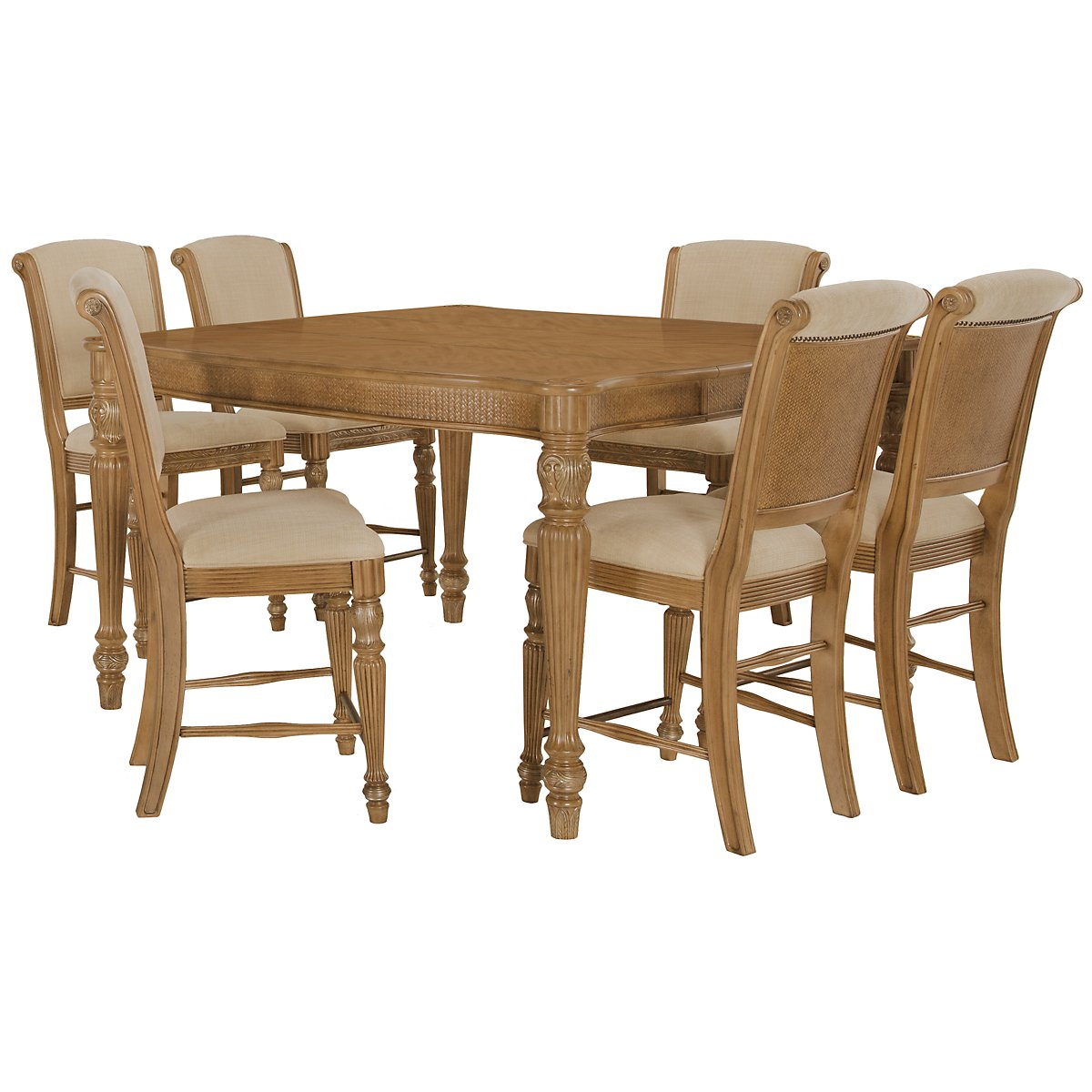 Tradewinds Light Tone Square High Table & 4 Upholstered Barstools