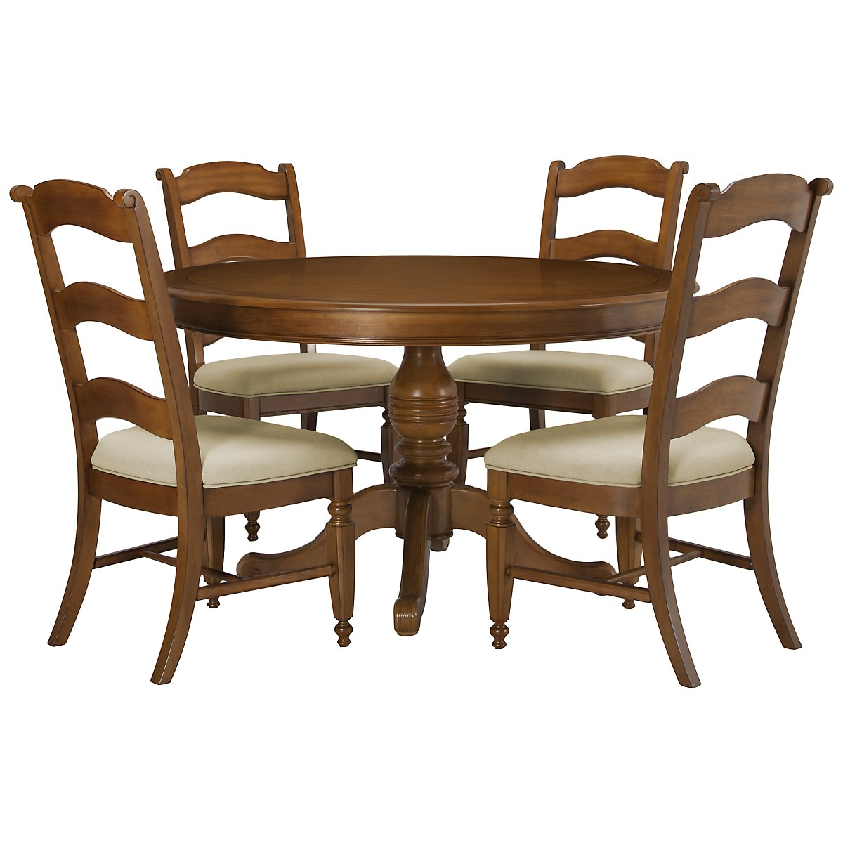 Claire Mid Tone Round Table & 4 Wood Chairs