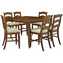 Claire Mid Tone High Table & 4 Wood Barstools