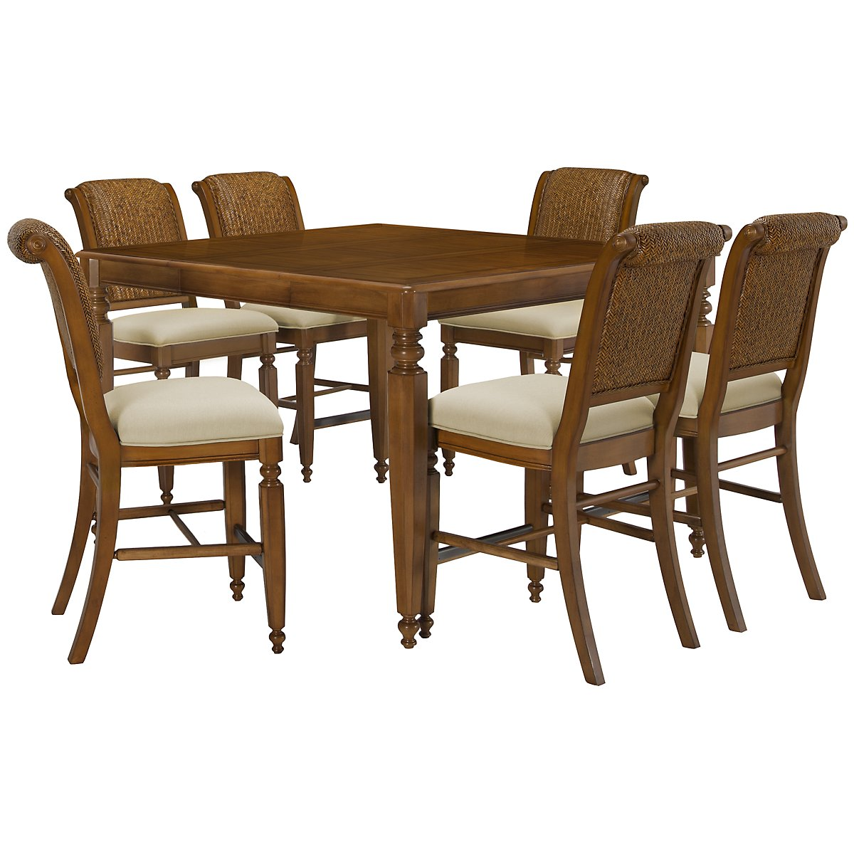 Claire Mid Tone High Table & 4 Woven Barstools