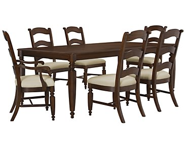 Claire Dark Tone Rectangular Table & 4 Wood Chairs