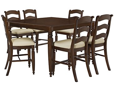 Claire Dark Tone High Table & 4 Wood Barstools
