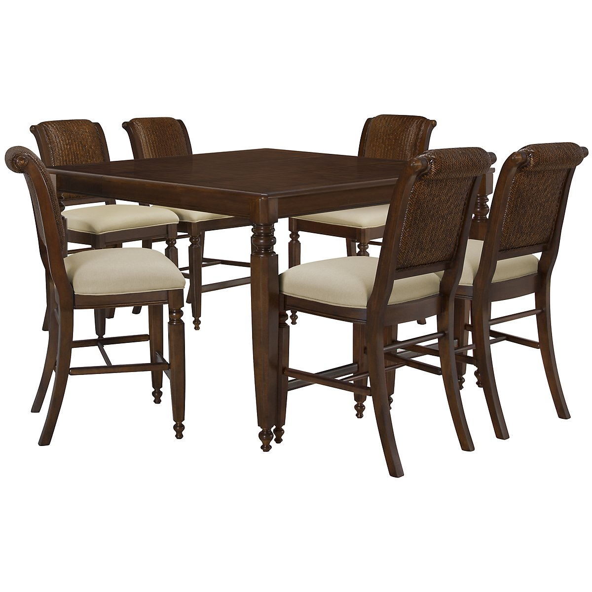 Claire Dark Tone High Table & 4 Woven Barstools