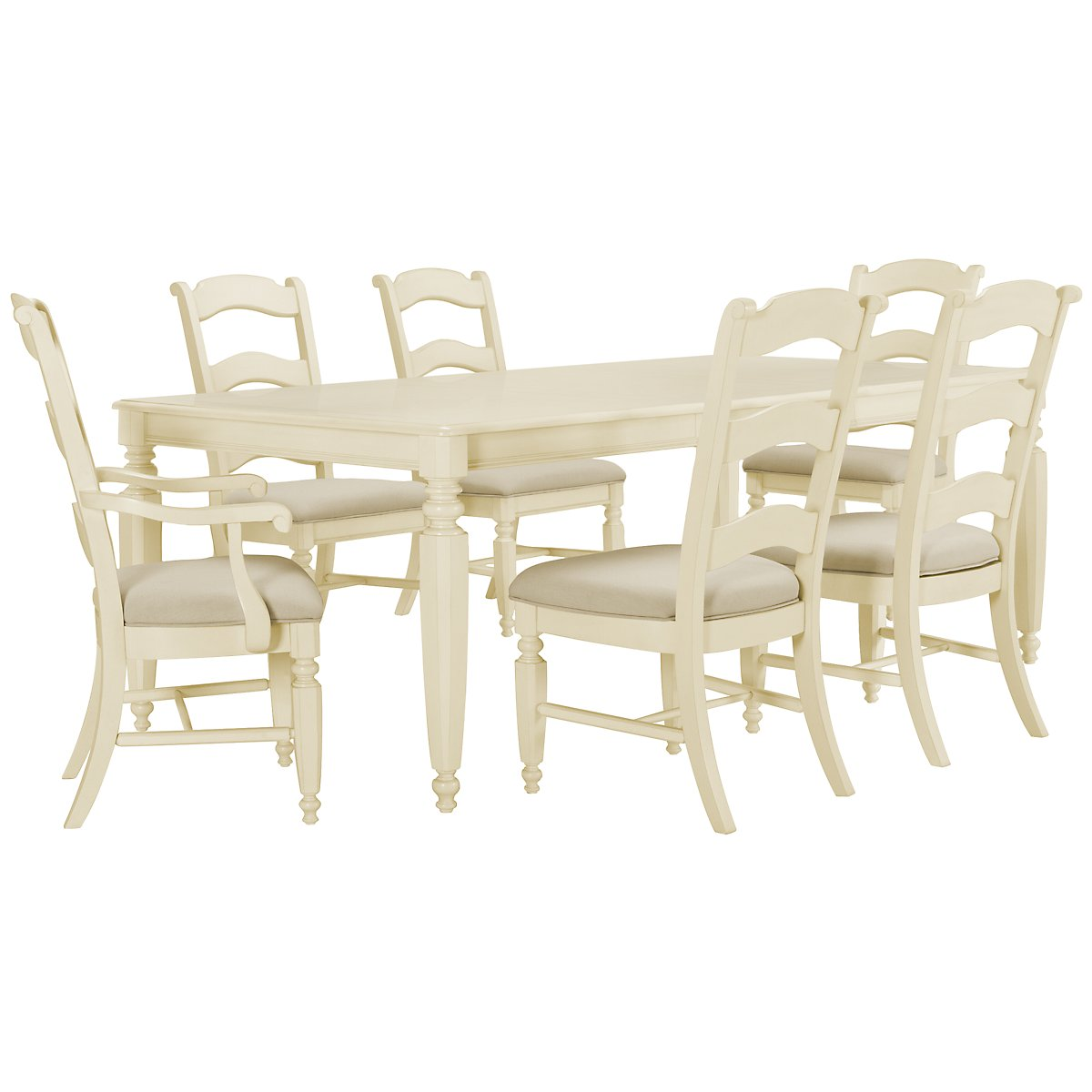 Claire White Rectangular Table & 4 Wood Chairs