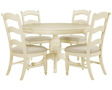 Claire White Round Table & 4 Wood Chairs