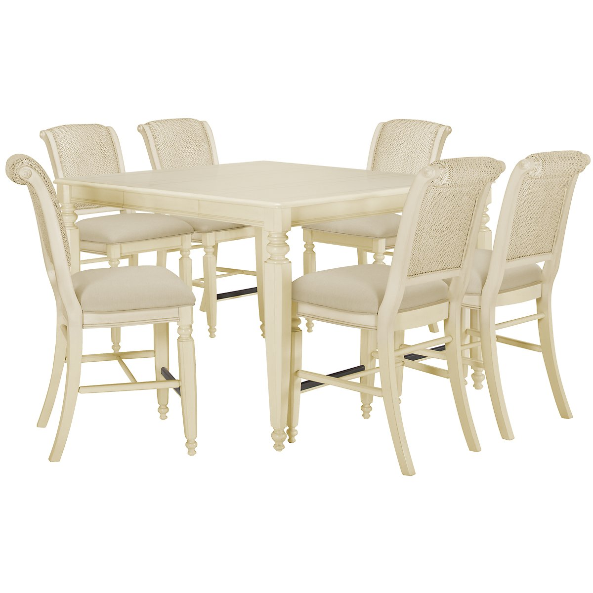 Claire White High Table & 4 Woven Barstools