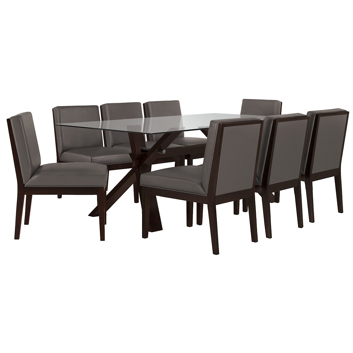 "Emma Dark Gray 83"" Table & 4 Bonded Chairs"