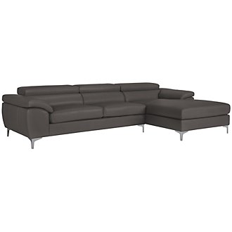 Product Image: Cologne Dk Gray Bonded Leather Right Chaise Sectional