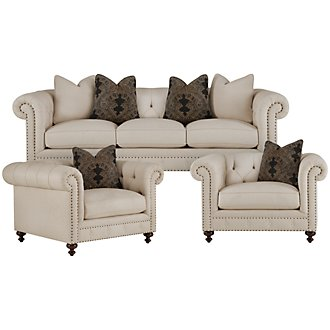Riviera Lt Beige Fabric Living Room