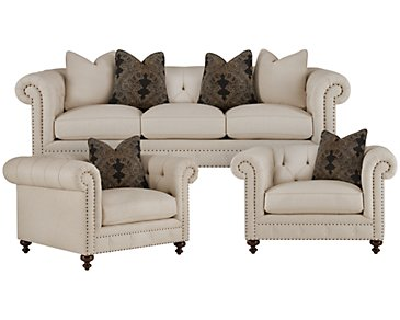 Riviera Light Beige Fabric Living Room
