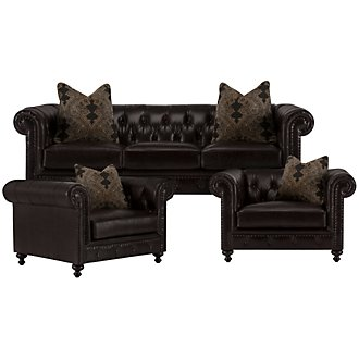 Riviera Dk Brown Leather Living Room