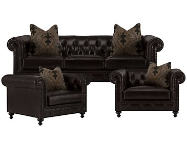 Riviera Dark Brown Leather Living Room