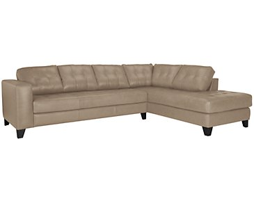 Elle Light Taupe Leather & Bonded Leather Right Bumper Sectional