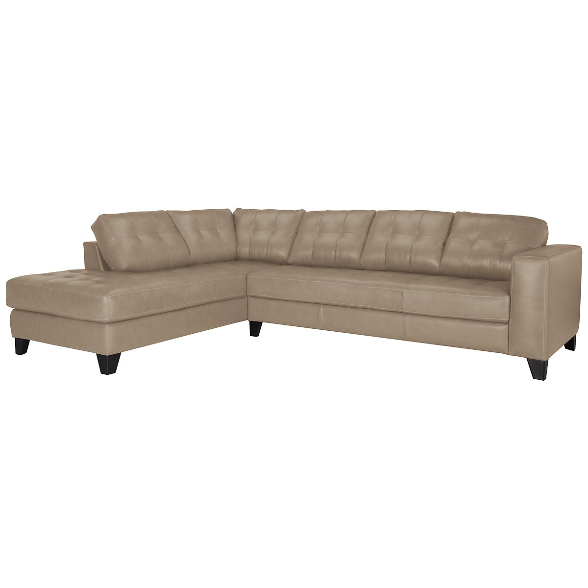 Elle Lt Taupe Leather & Bonded Leather Left Bumper Sectional