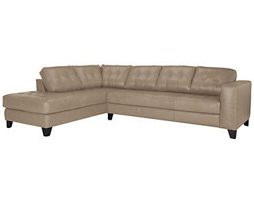 Elle Light Taupe Leather & Bonded Leather Left Bumper Sectional