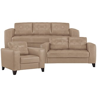 Elle Lt Taupe Leather & Bonded Leather Living Room