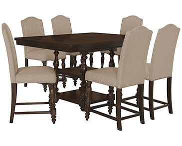 Mcgregor Dark Tone High Table & 4 Upholstered Barstools