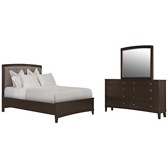 Product Image: Verona Dark Tone Upholstered Panel Bedroom
