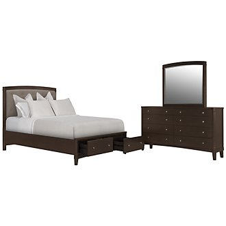 Product Image: Verona Dark Tone Upholstered Panel Storage Bedroom