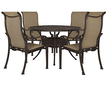 "Primera Dark Tone 48"" Round Table & 4 Sling Chairs"
