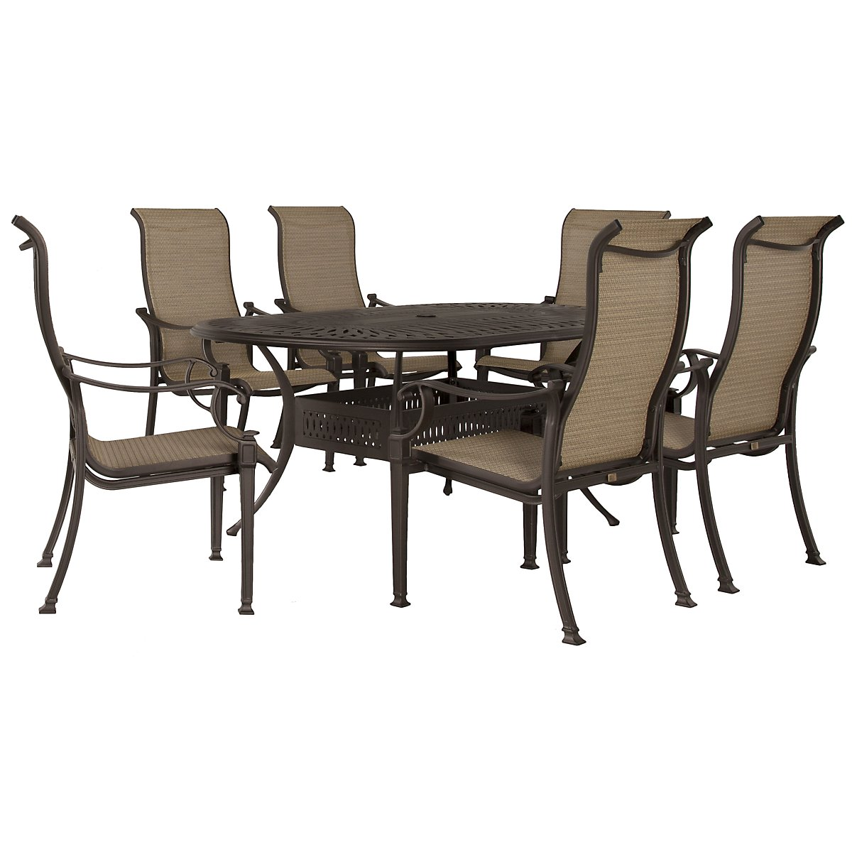 "Primera Dark Tone 72"" Oval Table & 4 Sling Chairs"