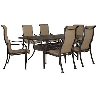 "Primera Dark Tone 87"" Rectangular Table & 4 Sling Chairs"