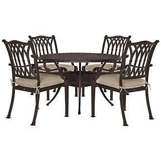 "Primera Dark Tone 48"" Round Table & 4 Cushioned Chairs"