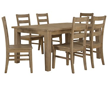 Jaden Light Tone Rectangular Table & 4 Wood Chairs