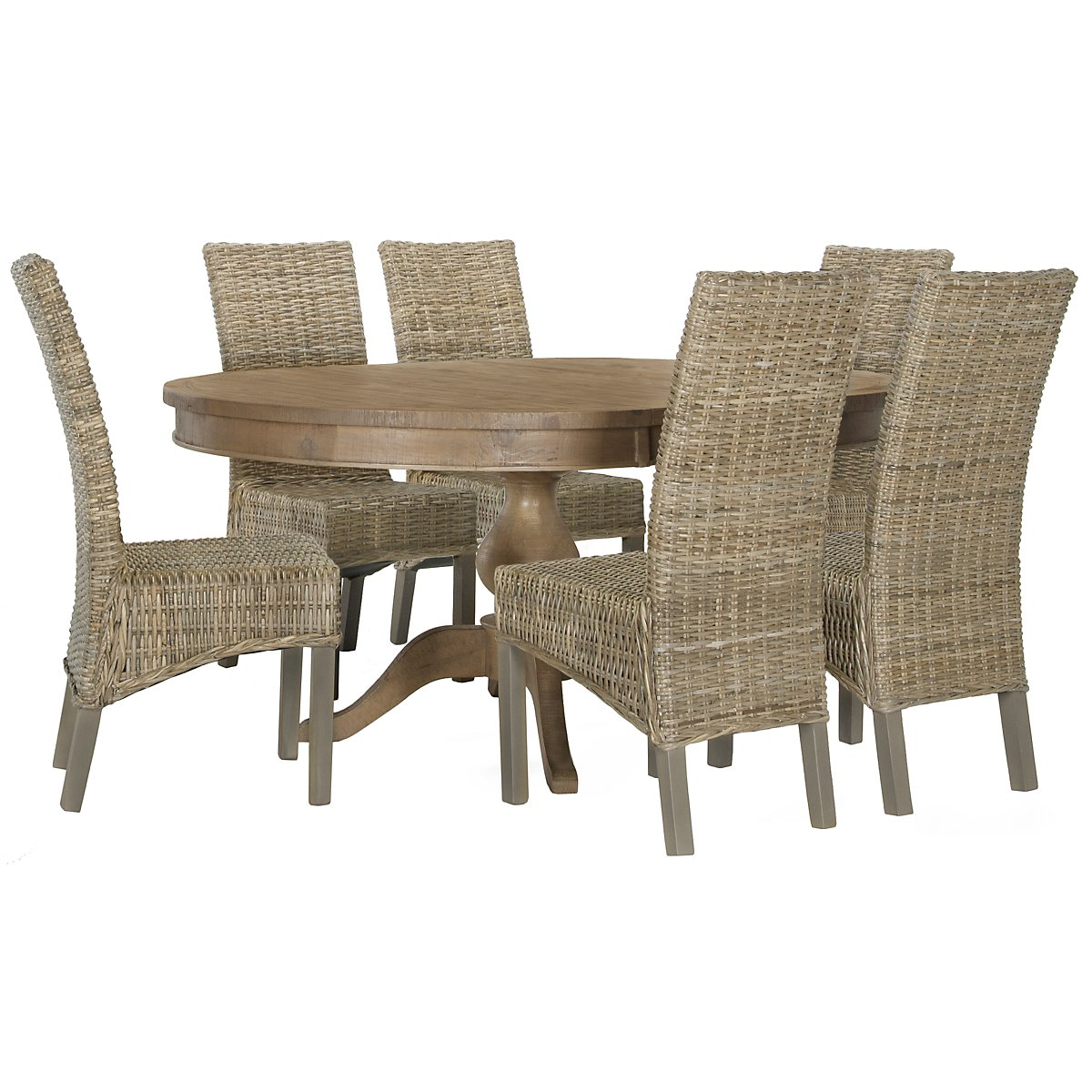 Jaden Light Tone Round Table & 4 Woven Chairs