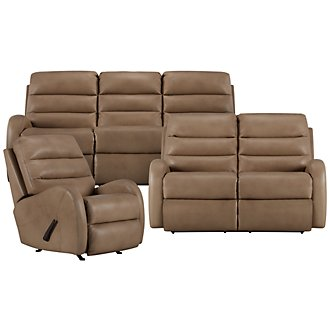 Carver Beige Microfiber Manually Reclining Living Room