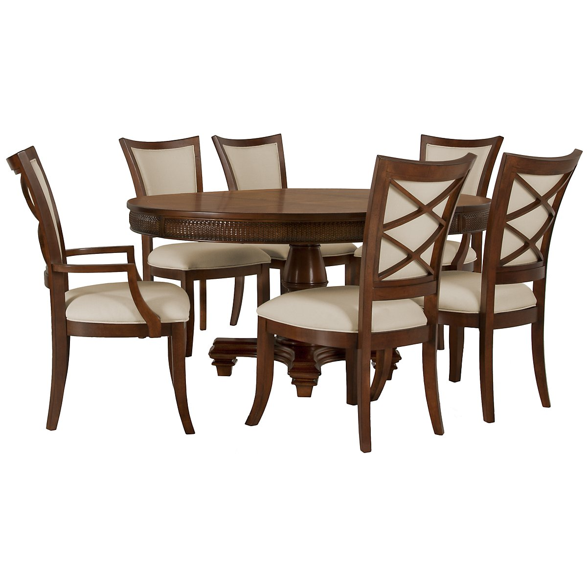 Antigua Mid Tone Round Table & 4 Upholstered Chairs