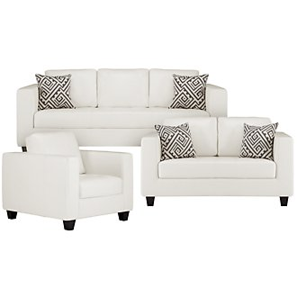 Tribeca White Bonded Leather Living Room
