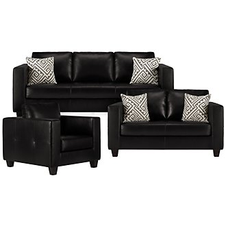 Tribeca Black Bonded Leather Living Room