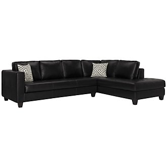 Tribeca Black Bonded Leather Right Chaise Sectional