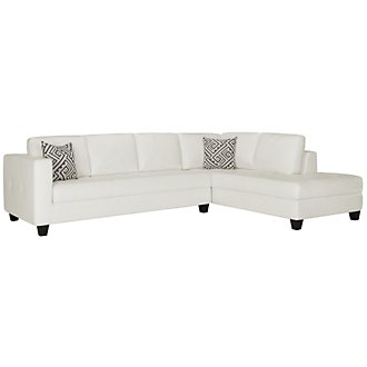 Product Image: Tribeca White Bonded Leather Right Chaise Sectional