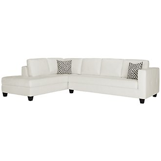 Product Image: Tribeca White Bonded Leather Left Chaise Sectional