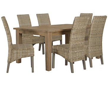 Jaden Light Tone Rectangular Table & 4 Woven Chairs