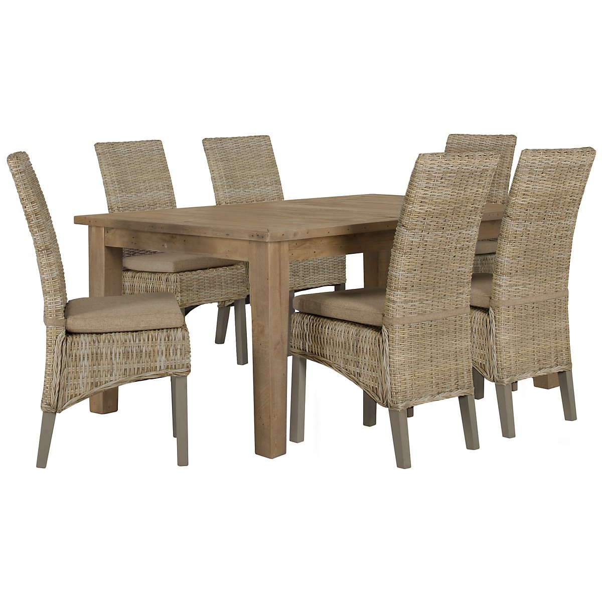 Jaden Light Tone Rectangular Table & 4 Cushioned Woven Chairs