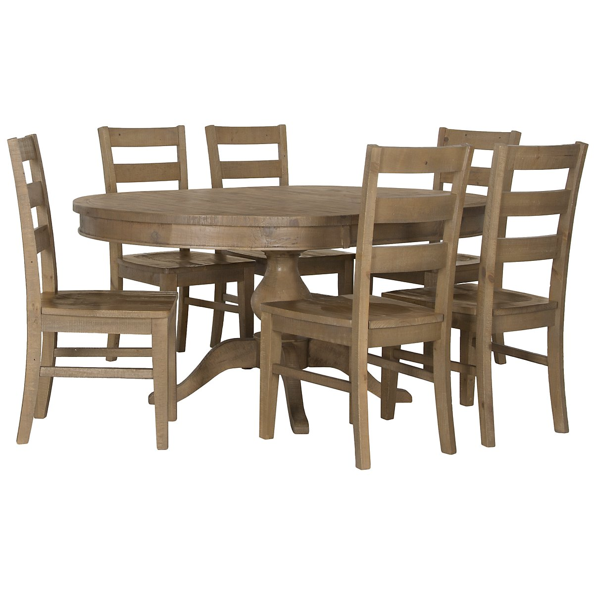 Jaden Light Tone Round Table & 4 Wood Chairs